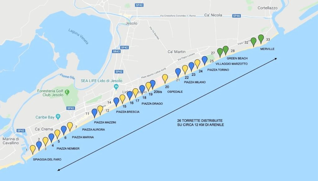 Mappa Torrette Jesolo 2020